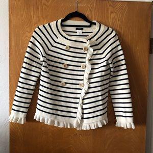 J. Crew striped ruffles double breast sweater XS